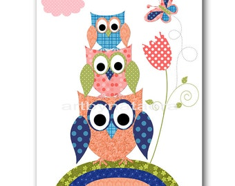 Owl Decor Owl Nursery Baby Girl Nursery Art Nursery wall art baby nursery decor kids room decor Kids Art Girl Print owl rose blue peach