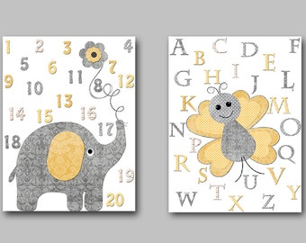 Canvas Nursery Alphabet Numbers Nursery Elephant Yellow Grey Butterfly Baby Nursery Art Print Children Art Baby Room Decor set of 2 /