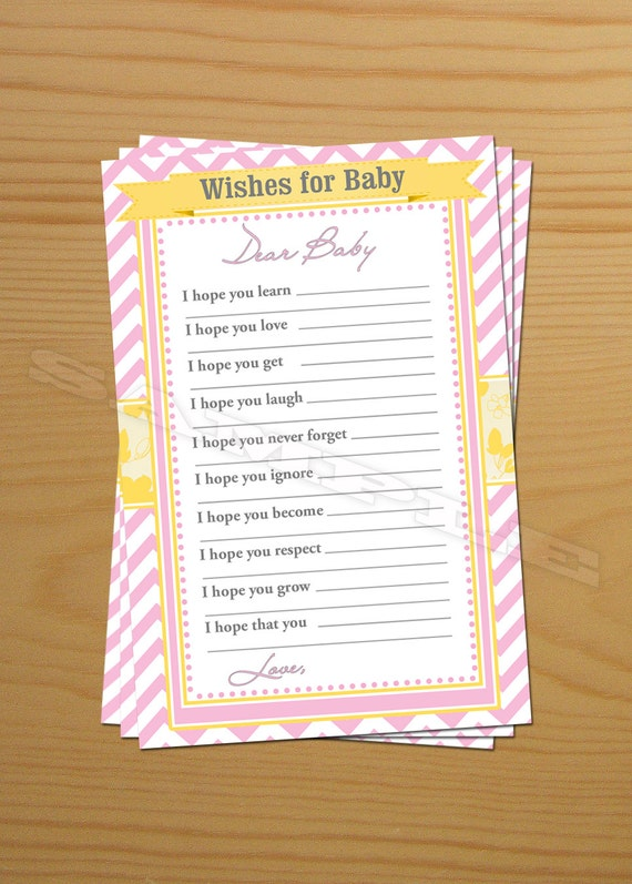 shower wish advice cards printable baby shower wishes baby shower well