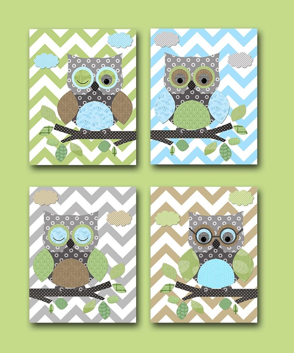 owls nursery baby boy nursery art nursery wall art baby. Black Bedroom Furniture Sets. Home Design Ideas