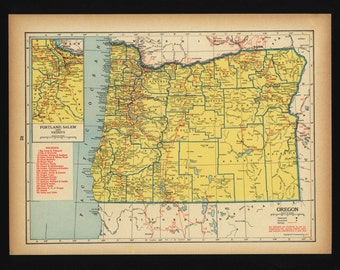 Vintage Map Oregon From 1944 Original