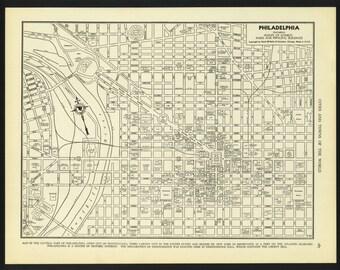 Vintage Street Map Philadelphia Pennsylvania From 1942 Original