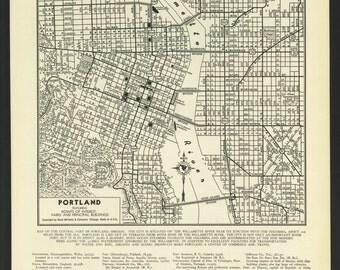 Vintage Street Map Portland Oregon From 1942 Original