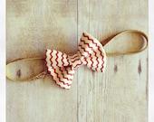 Nautical cream and red chevron holiday baby bow headband/clip
