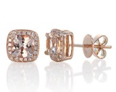 Rose Gold Morganite Earrings Cushion Cut Halo Diamond Cushion Morganite Stud Earring