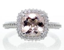 14 Karat White Gold Cushion Cut Morganite Ring Diamond Halo Engagement Wedding Anniversary Morganite Ring