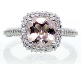 14 Karat White Gold Cushion Cut Morganite Ring Diamond Halo Engagement Wedding Anniversary Morganite Ring