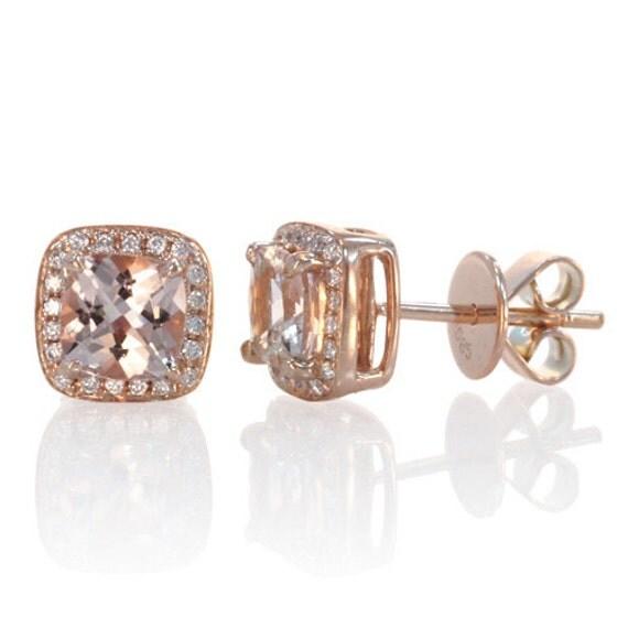 Rose Earrings Etsy Rose Gold Morganite Earrings
