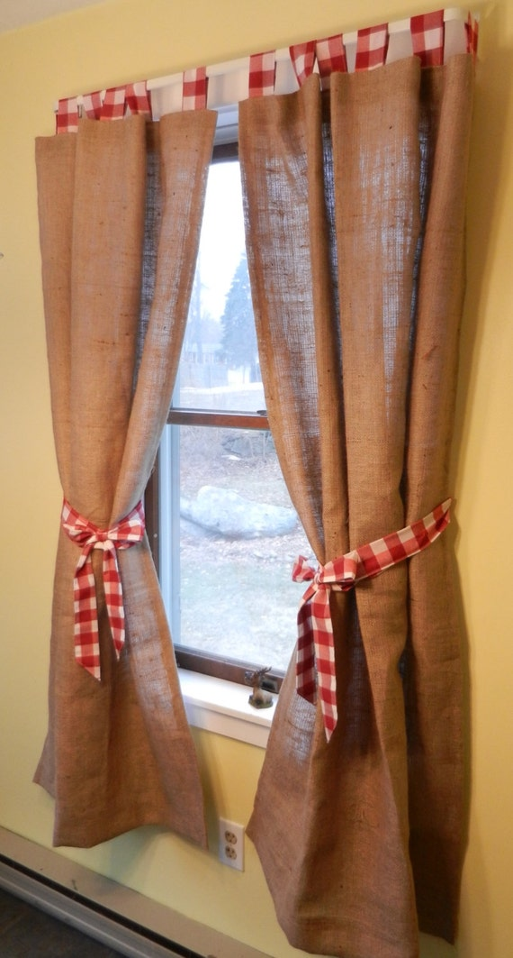burlap lined tab curtain red and white check tabs with red. Black Bedroom Furniture Sets. Home Design Ideas