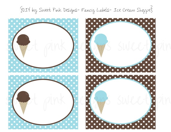 Printable Fancy Labels- Ice Cream Shoppe Collection for boys
