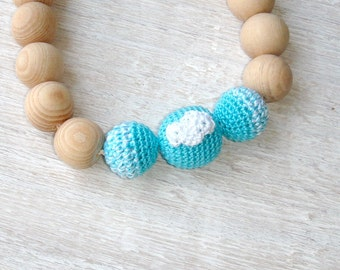 Blue Nursing necklace,Cloud toddler necklace,Mommy Teething necklace,eco chewing beads,teething jewelry,Mommy to Be,Wooden Baby Necklace,