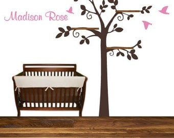 Tree Birds Shelf Wall Decal Branches with Shelves Nursery Wall Decal Boy Girl Personalized Custom Name Baby Shower gift Present Idea