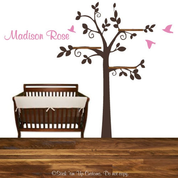 branches d 39 arbres oiseaux tag re murale autocollant avec. Black Bedroom Furniture Sets. Home Design Ideas