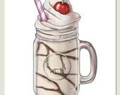 Milkshake on White - Archival Wall Art Print of Original Illustration - Kitchen Food Delicious Retro Food Art