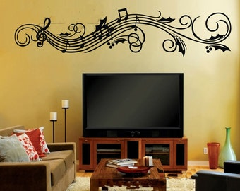 Wide 120cm Removable Music Note  Nature Vinyl Wall Paper Decal Art Sticker Q860