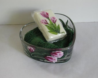 Handpainted Tulips Heart Dish, Soap and Washcloth