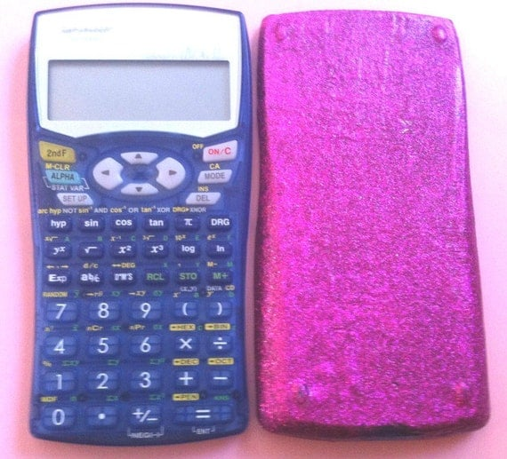 Sharp El-531w Scientific Calculator PINK GLITTER COVER & See through blue Algebra Math