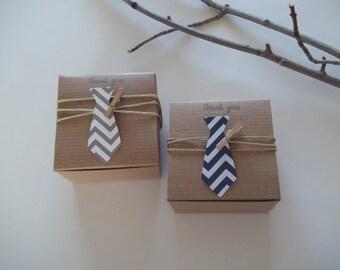 40 Necktie Baby Shower favor boxes Little Man Shower 3x3x2 inch kraft boxes NEW