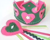 Pink Felt Birthday Party Crown and wand, Fairy Crown, Fairy Wand - MelsCreativeWishes