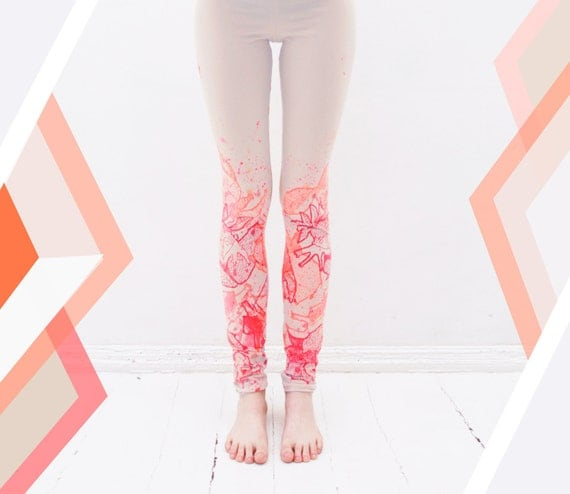 Orange fancy animal print leggings