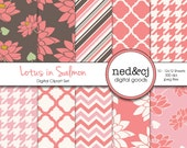 Digital Scrapbook Paper Pack - Lotus in Salmon - Digital Paper - Pink Floral - Water Lily