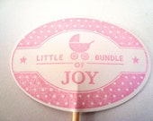 Stampin Up handmade cupcake toppers - little bundle of joy - Pink - Blue - Baby Shower - food pics - set of 12 - hand made - pick your color