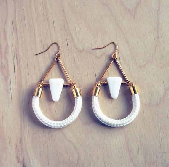 geometric triangle and rope dangle earrings geometric. Black Bedroom Furniture Sets. Home Design Ideas