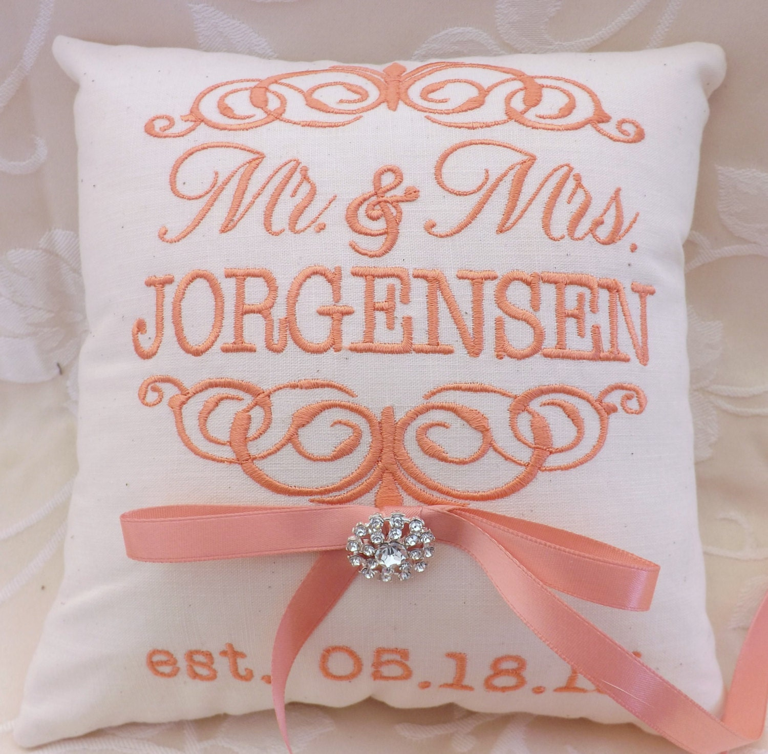 Monogram Wedding Ring Bearer Pillow: Ring Bearer PillowMr. & Mrs. Ring Bearer Pillow. Ring Pillow