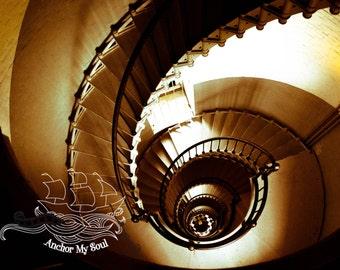 Spiral Dream Photograph - Digital Print - Photo Mat - Lighthouse Stairs - Seashell - Nautical - Salt Life - Sepia