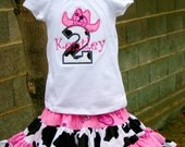 Ari's Angels  Pink Cowgirl Birthday outfit Monogrammed Personalized Shirt & Full Twirling Skirt