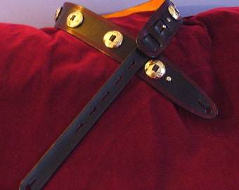 Black Guitar Strap with Conchos