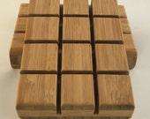 Bamboo Soap Dish, Grid - Handmade