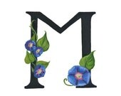 M is for Morning Glory, Floral Alphabet, 8x10