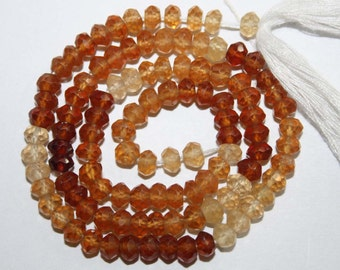 Natural AAA Quality Hessonite Garnet 4 to 5mm Faceted Rondell Gemstone Beads 13 Inches FRN09