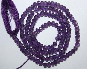 Natural AAA Quality Amethyst 3mm Faceted Rondell Gemstone Beads 13 Inches FRN31