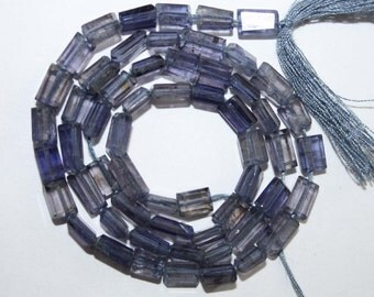 Natural AAA Quality Iolite 3X5 to 4X7mm Flat Faceted Cube Gemstone Beads 13 Inches FCB05