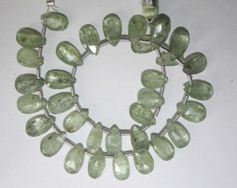 Natural AAA Quality Green Kyanite 5X9 to 6X10mm Faceted Pear Gemstone Beads 8 Inches FBL57