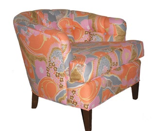 Vintage Refurbished Club Chair Pink Orange Gray Yellow