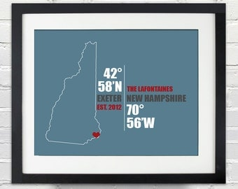 New Hampshire Coordinate Wedding or Anniversary Gift, Any State or Country Map Print, Bride and Groom Names, Place and Date, Bridal Shower