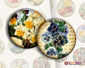 VINTAGE FLORAL SPRING - 2 inch Circles Digital Collage Sheet Printable images Pocket Mirrors Magnets Paper Weight Earrings