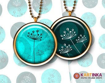 1 inch (25mm), 1.5 inch, 7/8 inch Printable Downloads MINT DANDELIONS digital images for Round pendants Bezel trays Cabochon Mountings cameo