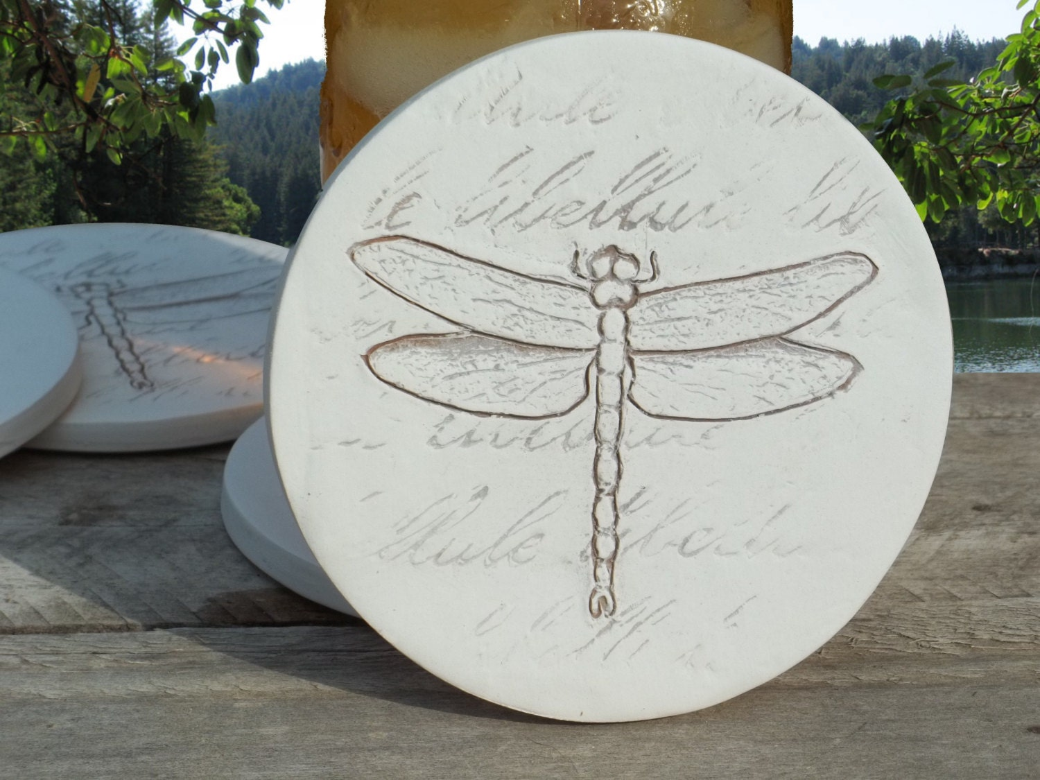 Dragonfly absorbent clay drink coasters set of 4 by shaynemccarter - Drink coasters absorbent ...