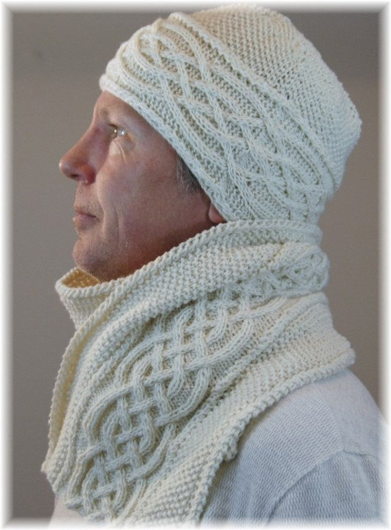 Knitting Pattern Hat Scarf Combo : Pure Cashmere scarf and hat set/combo for men by MountainMasche