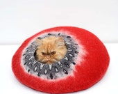 Cat bed, pet bed, cat cave, pet house red and black
