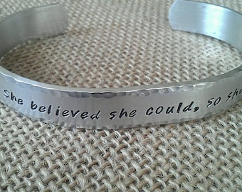 She believed she could, so she did., Graduation Bracelet-Stamped Evermore