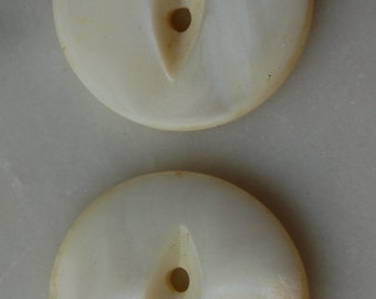 Vintage white mother of pearl buttons 2 pieces- cat's eye fish eye  2 holes one inch diameter 1940s sewing notions