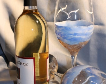 Hand Painted Wine Glasses (Set of 2) - Beach and Sand