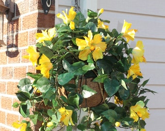 Silk Hanging Plant - Yellow Hibiscus