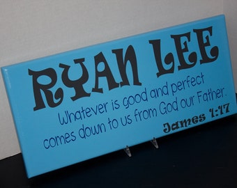 Children Signs with Bible Verse and Scripture. Nursery Decor, Baby Shower, Christening, Baptism