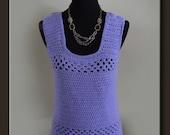 Handmade Elegant Woman's Knit Tank Top - Lavender Crochet Tank Top - Spring Summer - Women's Blouse - Size Medium FREE SHIPPING